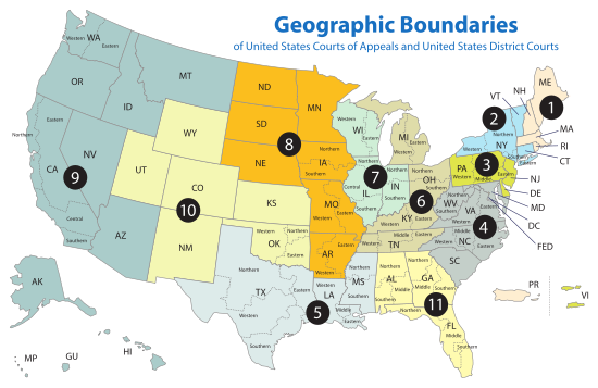 US Court of Appeals and District Court map svg